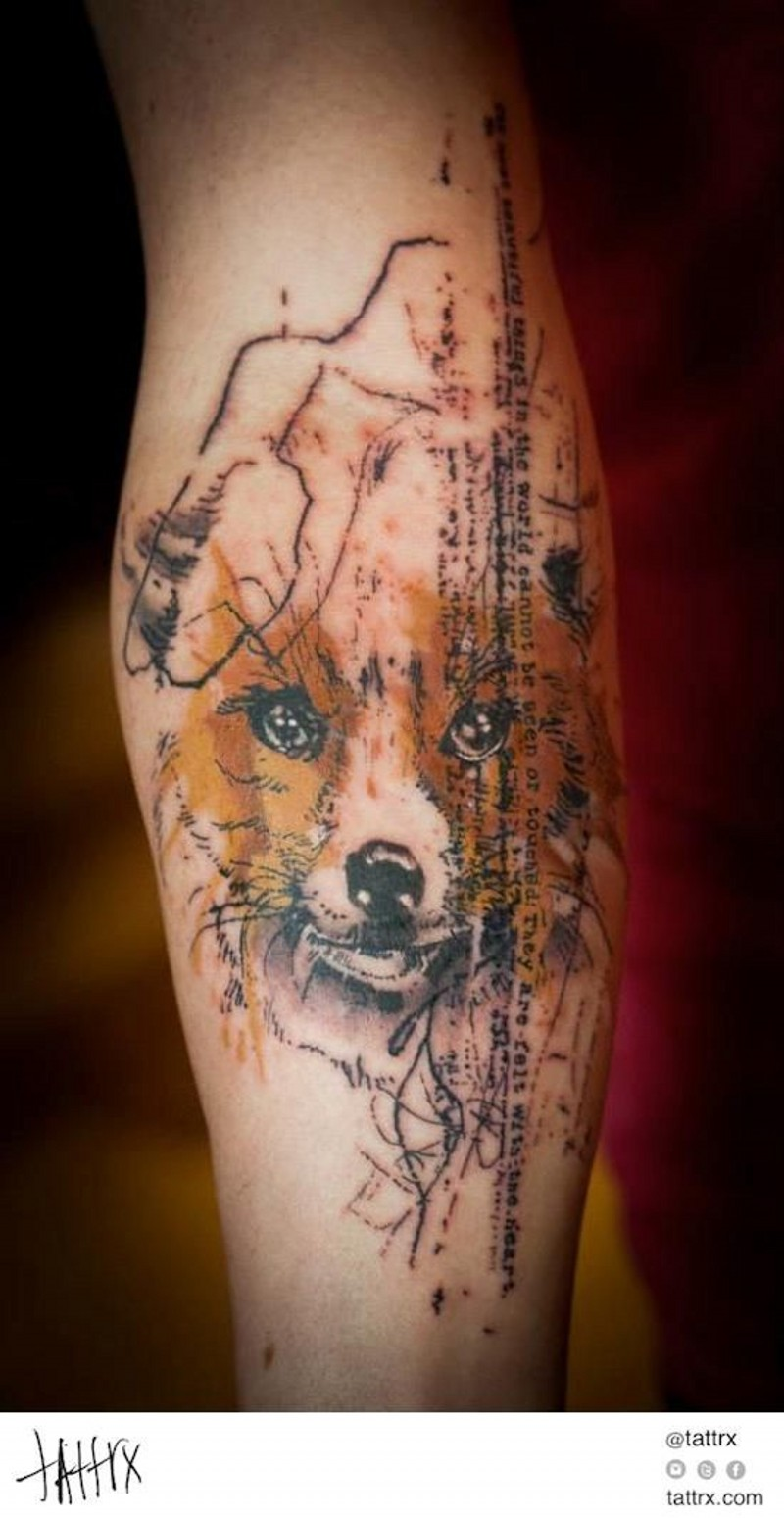 Nice painted and colored little fox with lettering tattoo on arm