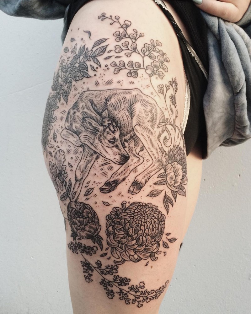 Nice painted black and white little cow tattoo on thigh with chrysanthemum flowers