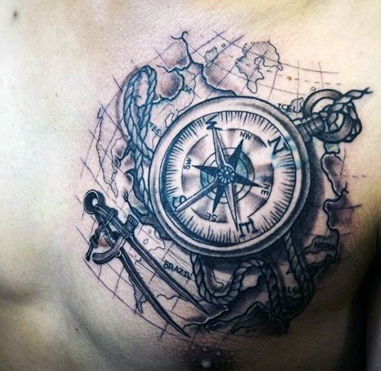 Nice painted black ink big compass with map tattoo on chest