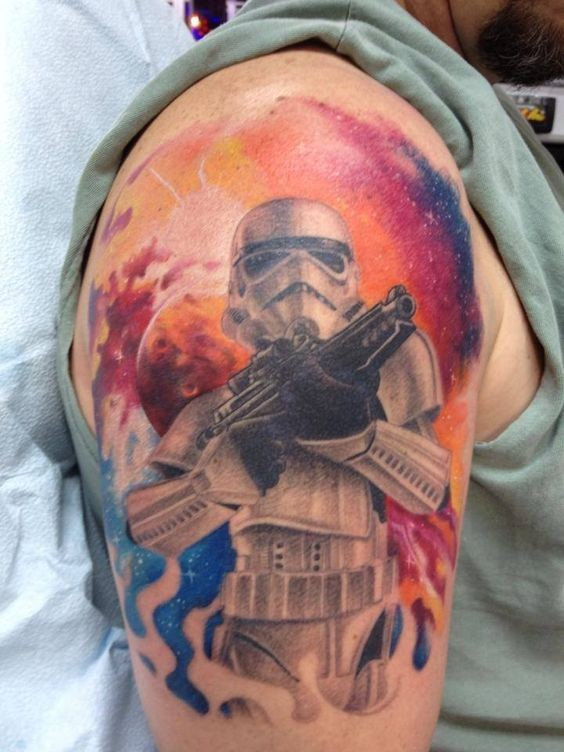 Nice painted colored Star Wars storm trooper tattoo on shoulder