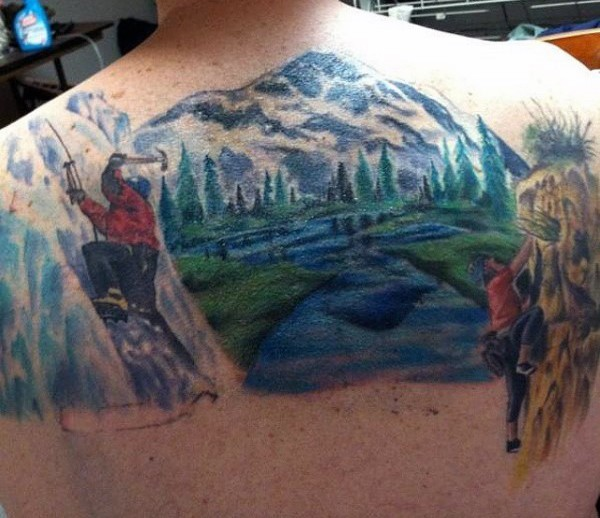 Nice painted colorful mountains with climbers tattoo on upper back