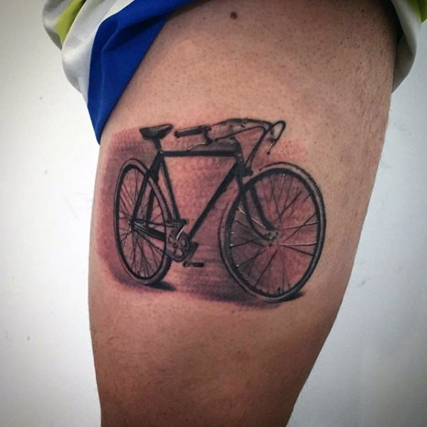 nice painted realistic looking bicycle tattoo on thigh. Black Bedroom Furniture Sets. Home Design Ideas