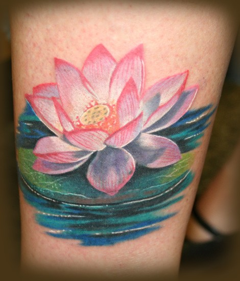 Nice pink lotus on water tattoo by jesserix