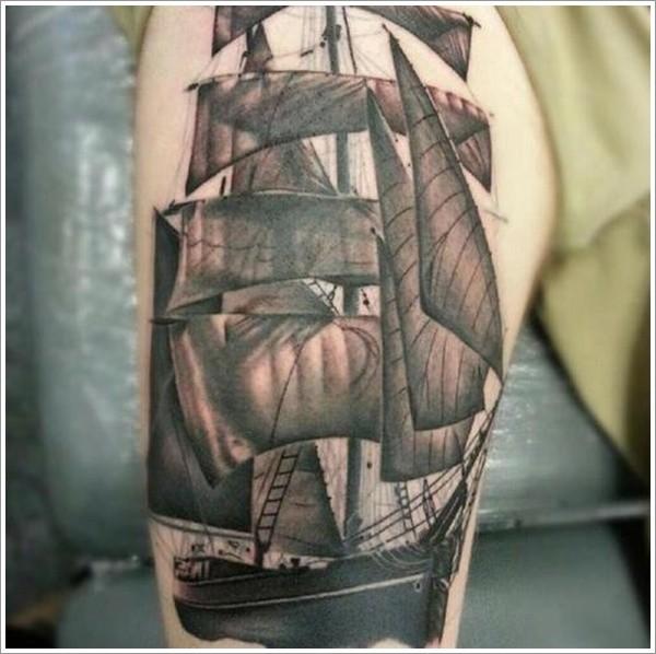 Nice ship tattoo on thigh