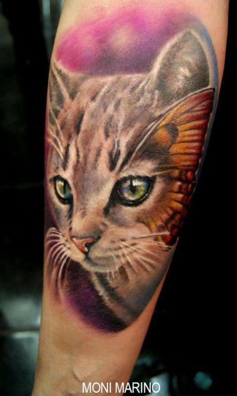 Nice watercolor kitten tattoo by Moni Marino