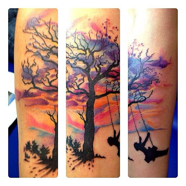 Swing Tattoo: Nice Watercolor Tree And Swing Tattoo On Arm