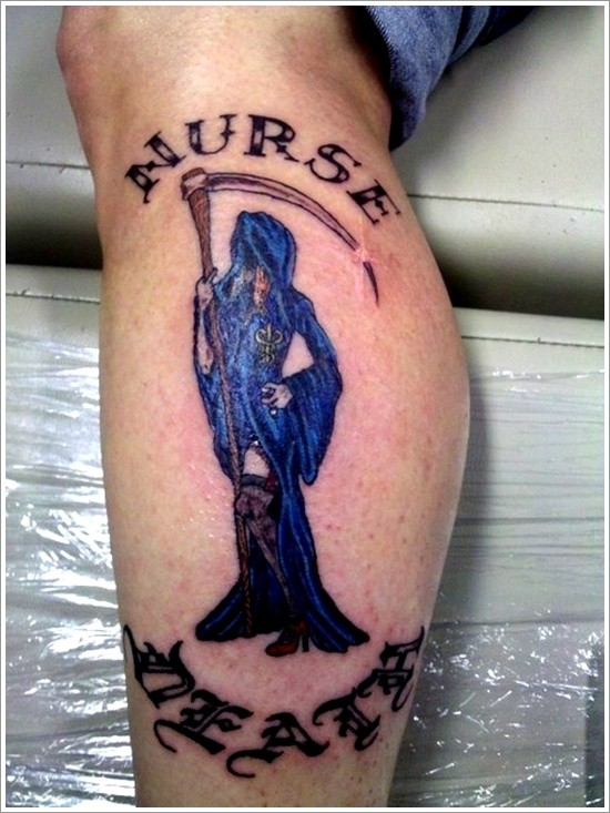 Nurse death tattoo on leg