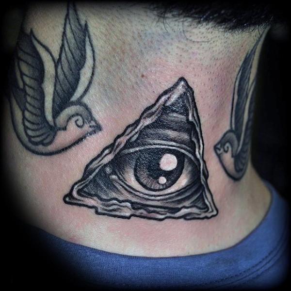 Od school black ink mystical triangle tattoo on neck with birds