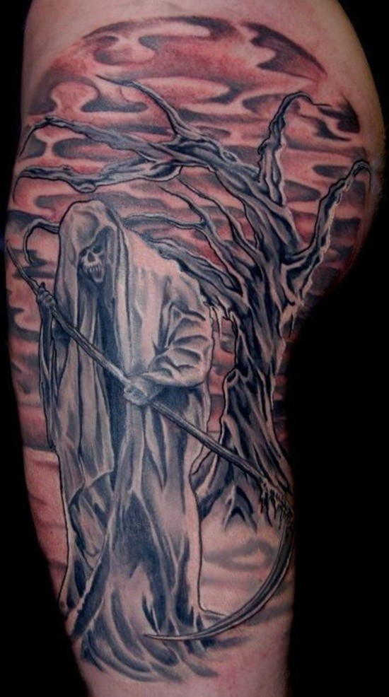 Old cartoon like colored Death skeleton tattoo on shoulder