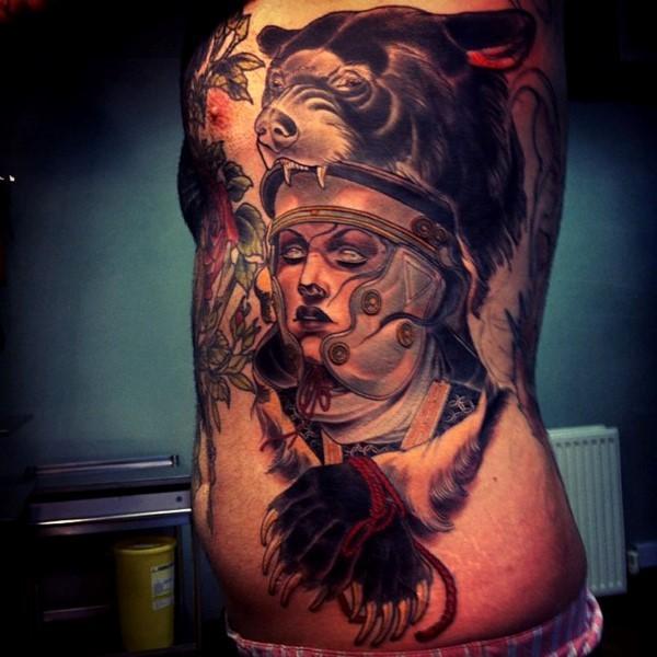 Old cartoon like colored Roman warrior with bear shaped helmet tattoo on side