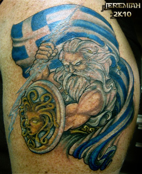 Old cartoon like colored Zeus with lightning and flag tattoo