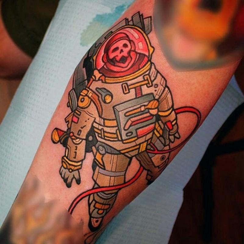 Bello vecchio cartone animato colorato astronauta zombie scheletro