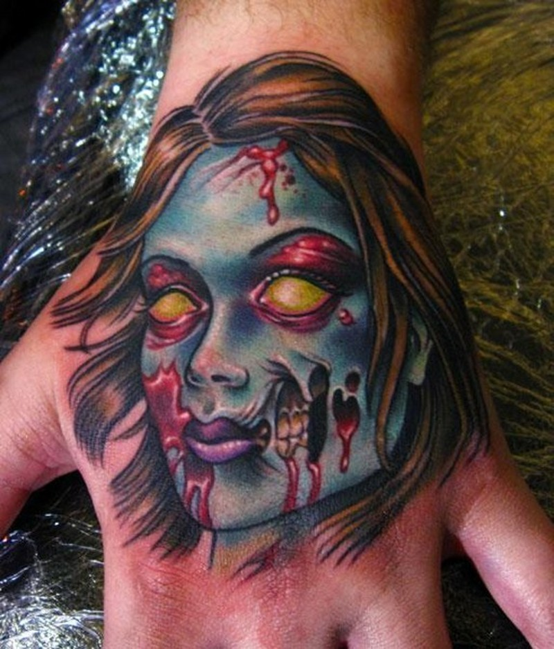 Old cartoon style colored hand tattoo of zombie woman portrait
