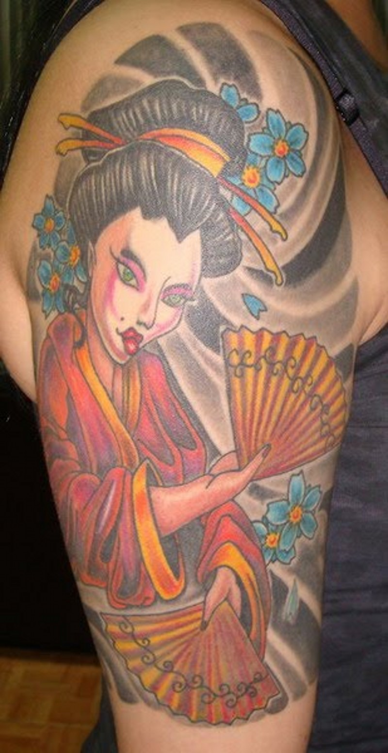 Old cartoon style painted colored shoulder tattoo of Asian geisha with flowers and fan