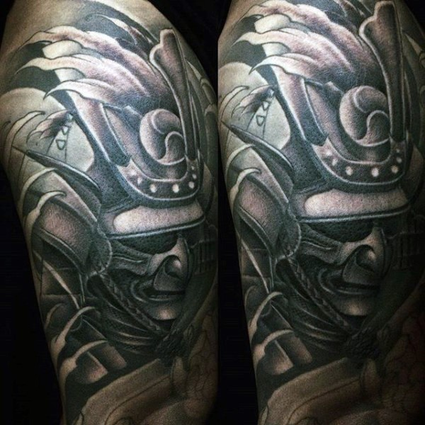 Old cartoons like black and white shoulder tattoo of samurai warrior