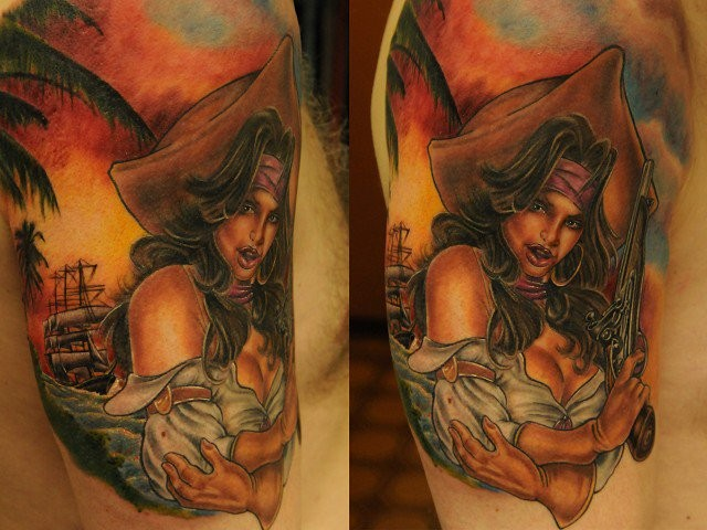 Old cartoons like colored sexy pirate woman with pistol tattoo on shoulder zone