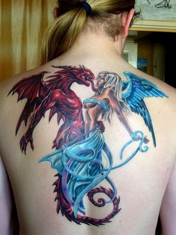 Old cartoons style colored angel with devil monster tattoo on whole back