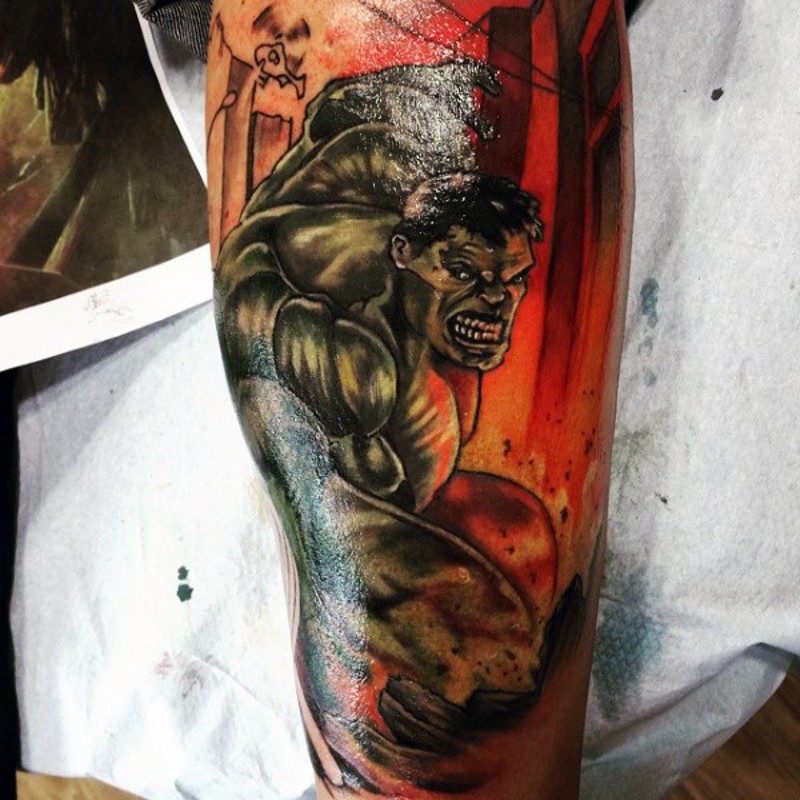 Old comic book style painted big Hulk in city tattoo