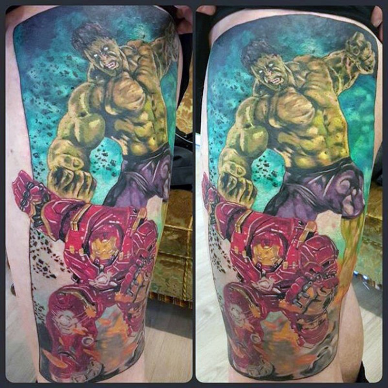 Old comic books style colored thigh tattoo of Hulk fighting Iron man