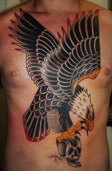 Old flying eagle with skull tattoo on chest