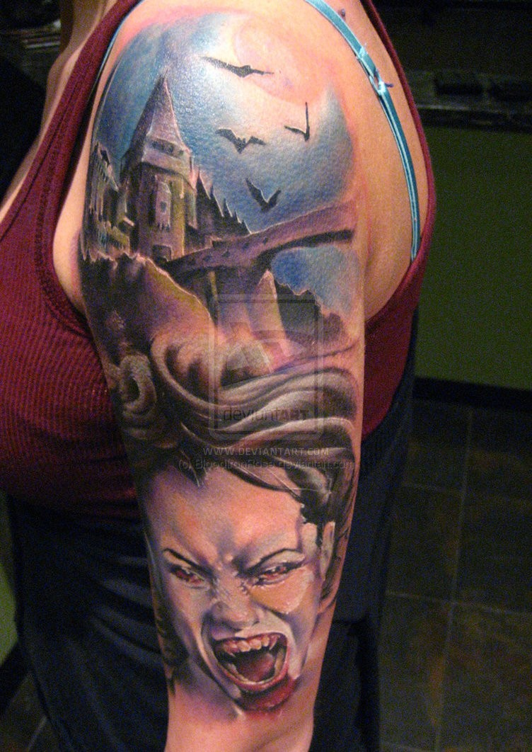 Old horror movie colored big castle with vampire woman and bats tattoo on sleeve