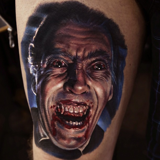 Old horror movie colored Dracula vampire tattoo on thigh