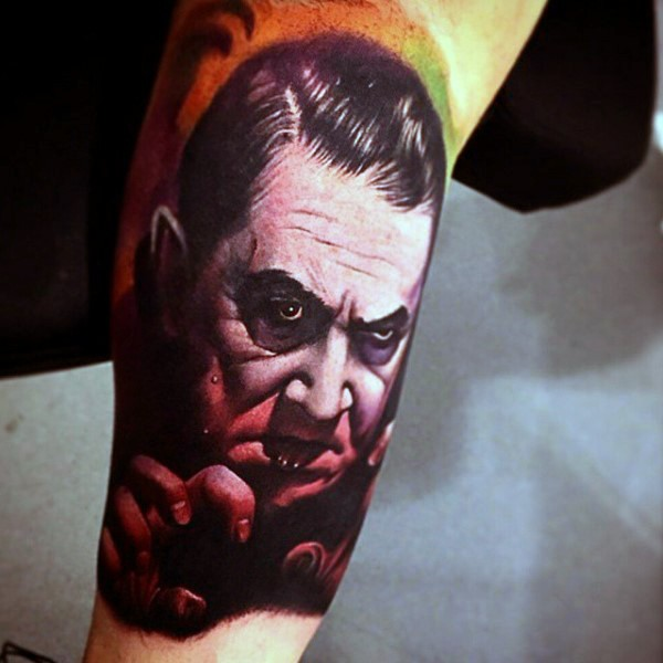 Old horror movie hero vampire tattoo on arm
