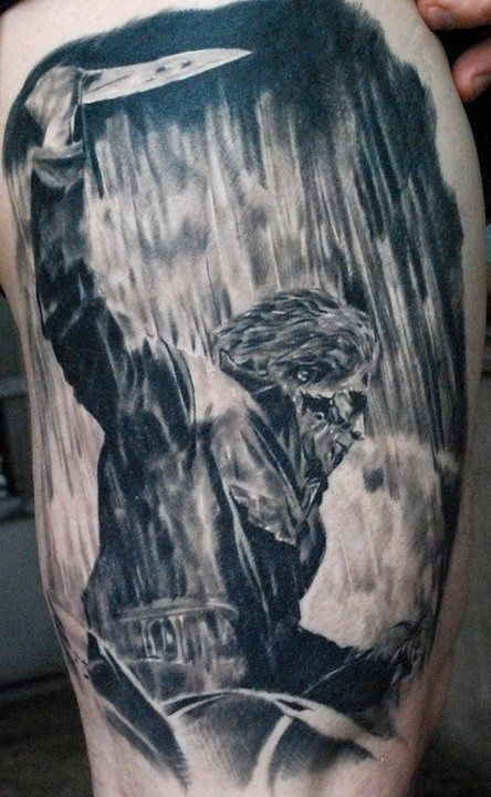 Old horror movie like very realistic maniac monster with big knife tattoo on thigh