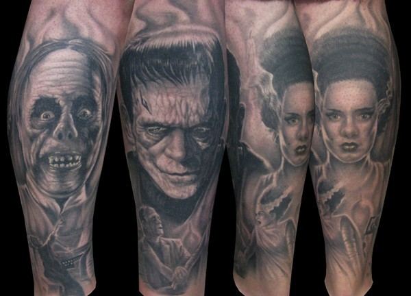 Old horror movies black ink heroes portraits tattoo on sleeve