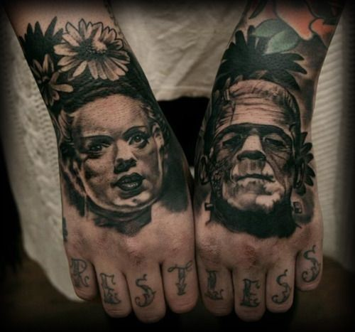 Old horror movies heroes portraits tattoo on fists