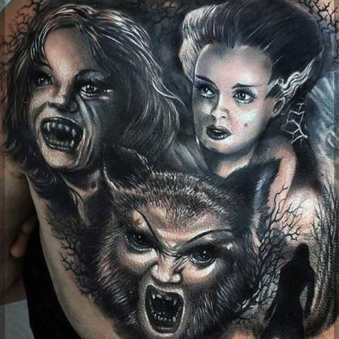 Old horror movies style black and white detailed various monsters tattoo on back