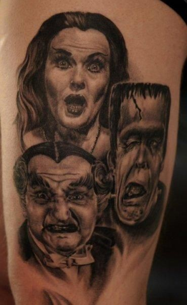 Old horror movies very detailed portraits tattoo on chest