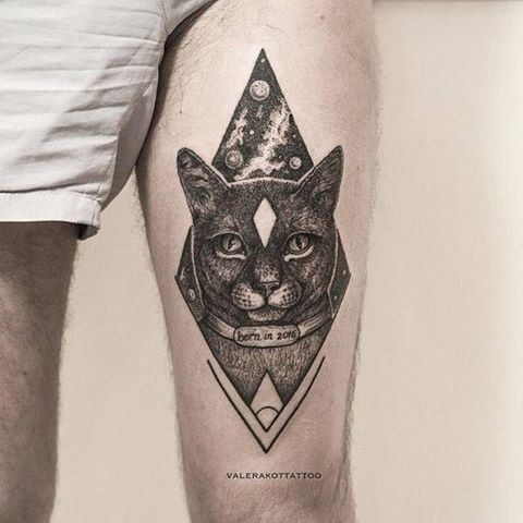 Old image like dot style thigh tattoo of space cat with planets