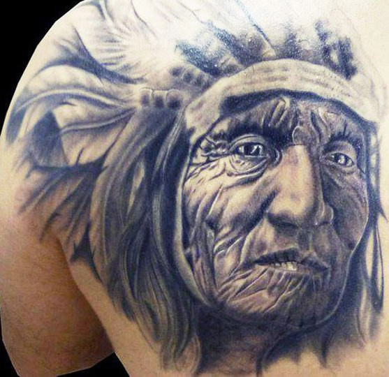 Alter indianianischer Häuptling Tattoo von Silvano Fiato