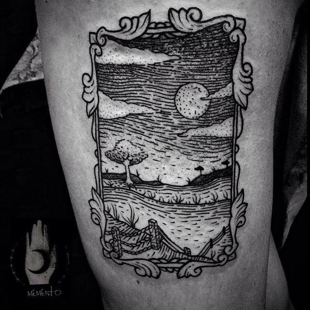 Old looking black ink thigh tattoo of cute picture
