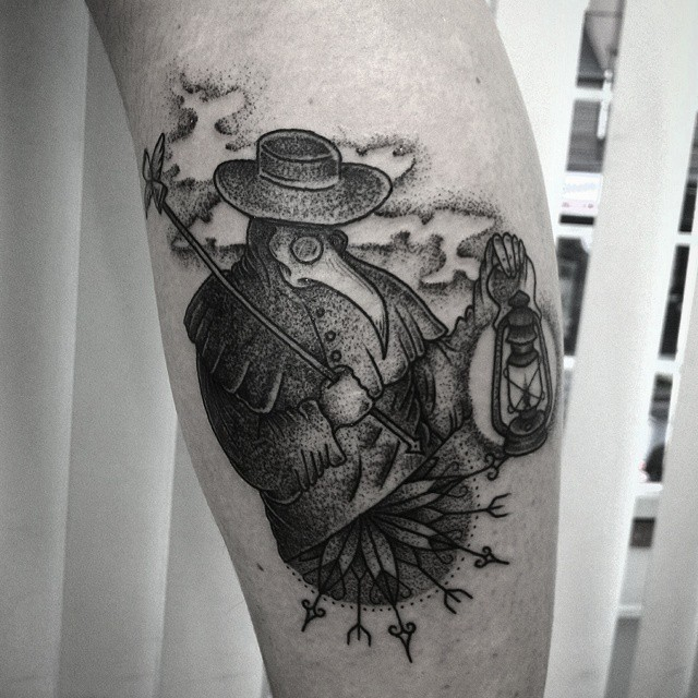 Old looking dot style plague doctor tattoo on leg