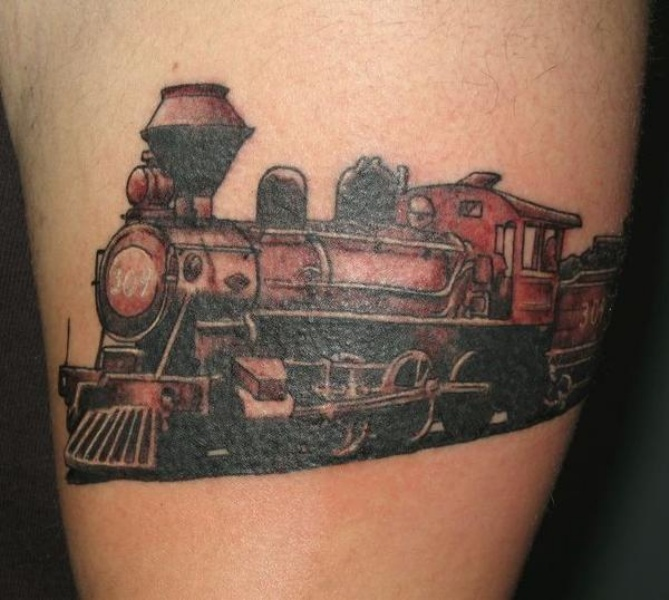 Old looking red colored tattoo of old steam train