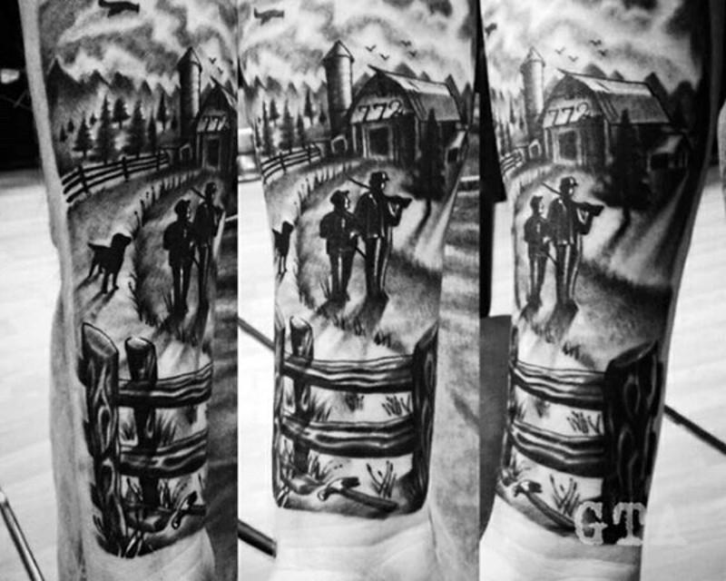 vecchio foto nero e bianco occidentale tatuaggio su braccio