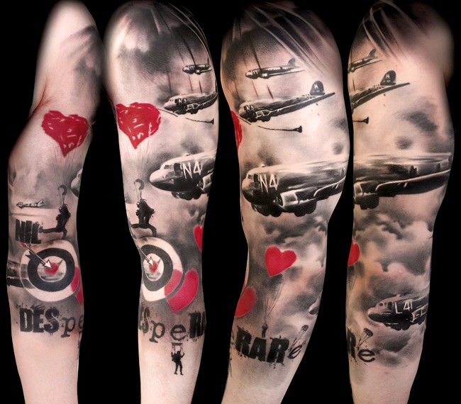 Old Photos Like Big Colored Military Tattoo With Lettering