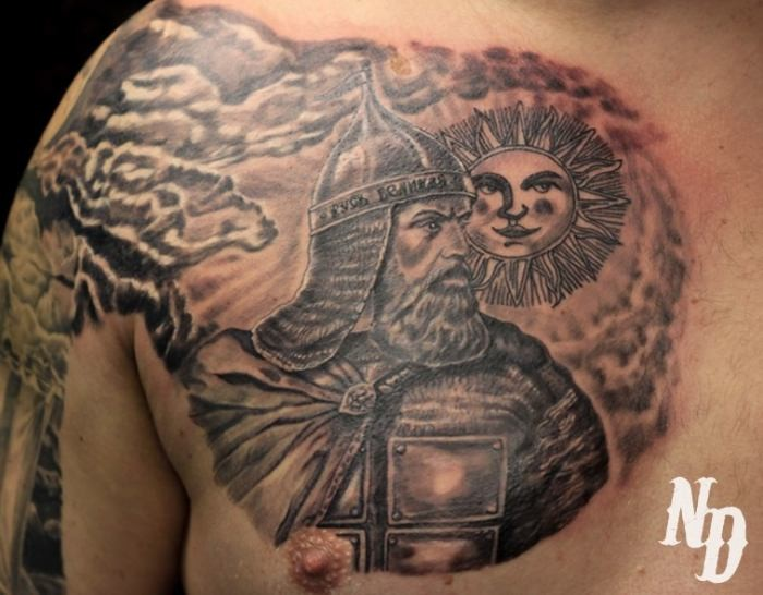Old school 3D style colored medieval warrior tattoo on chest stylized with smiling sun
