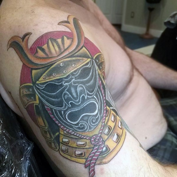 Old school accurate painted and detailed colored shoulder tattoo of samurai helmet