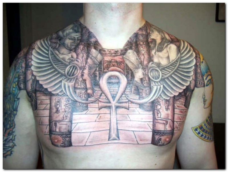 Old school big colored Egypt themed tattoo on chest with Ankh symbol