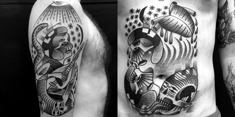 Old school black and white antic paintings like tattoo on belly and shoulder areas