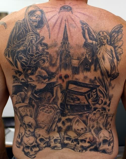 Old school black and white creepy cemetery tattoo on whole back with Death and angels