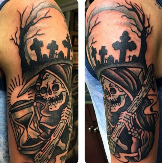 4461c0e14 Old school black and white Death skeleton tattoo on shoulder with dark  cemetery and sand clock
