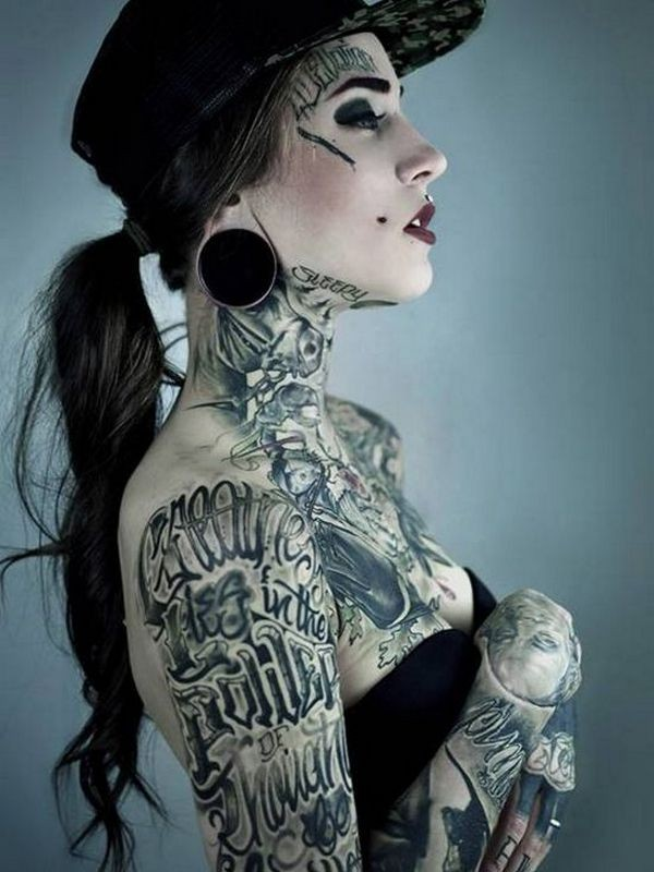 Old school black and white various letterings tattoo on shoulder