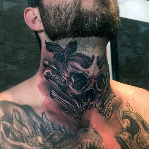 Old school black ink neck tattoo of human skull and bones