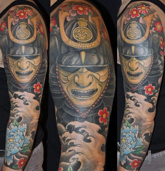 Old School Cartoons Like Colored Asian Warrior Mask With Flowers