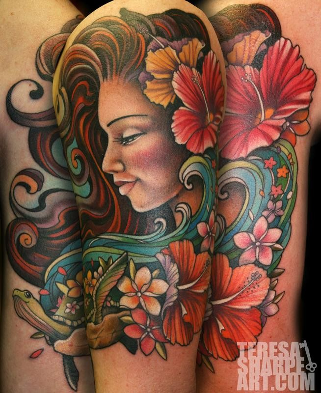 Old school colored beautiful woman portrait tattoo on shoulder with flowers and snake