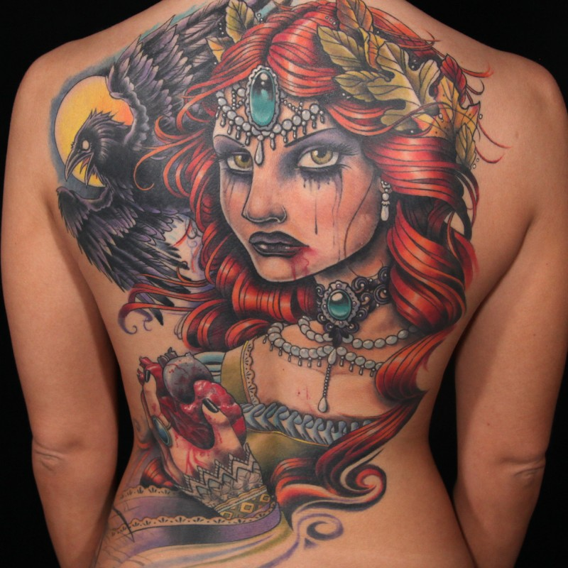Old school colored bloody witch tattoo n whole back with human hear and crow